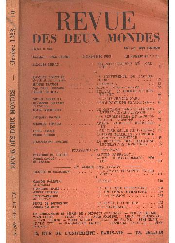 Revue Des Deux Mondes - Octobre 1983