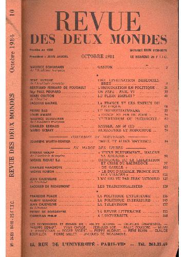 Revue Des Deux Mondes - Octobre 1984
