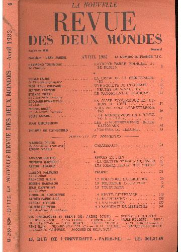 Revue Des Deux Mondes - Avril 1982