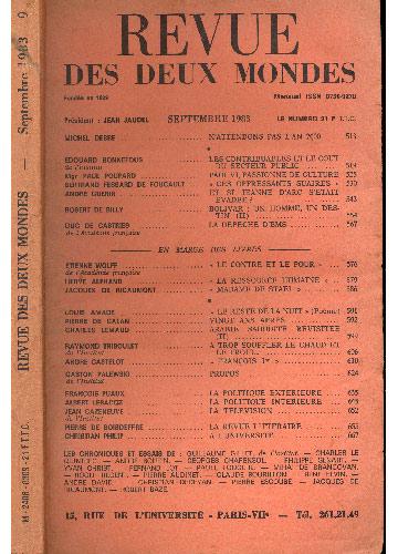 Revue Des Deux Mondes - Septembre - 1983