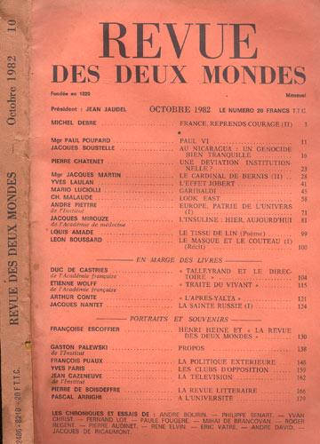 Revue Des Deux Mondes - Octobre 1982