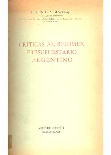 Criticas Al Regimen Presupuestario Argentino