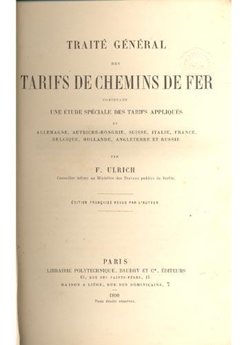 Traité Général des Tarifs de Chemins de Fer