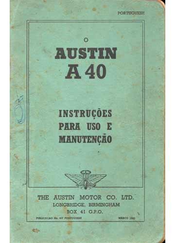 Austin A40 - Instruções para Uso e Manutenção