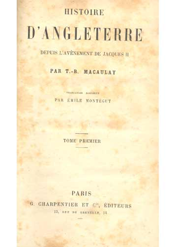 Histoire D'Angleterre - Tomo 1 - Com Ex-Libris de Claude J. Blum