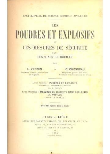 Les Poudres et Explosifs et les Mesures de Sécurité dans Les Mines de Houille