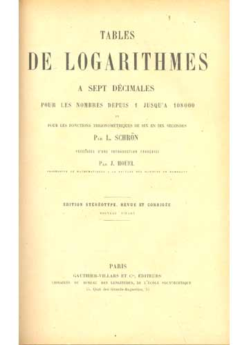 Tables de Logarithmes a Sept Decimales
