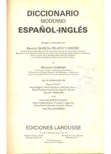 Diccionario Moderno Español-Inglés - English-Spanish - Larousse