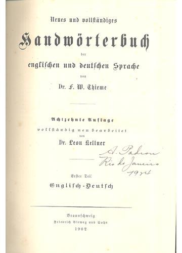 Handwörterbuch - Neues und Vollständiges Handwörterbuch der Englischen und Deutschen Sprache - 2 Volumes