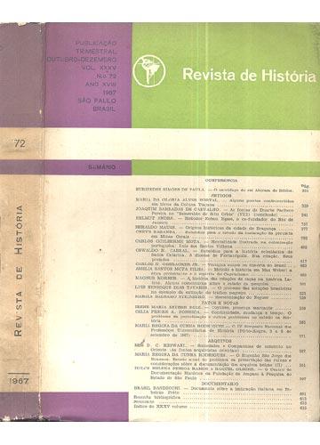 Revista de História - Ano XVIII - Vol. XXXV - Nº 72 - Out.-Dez. de 1967