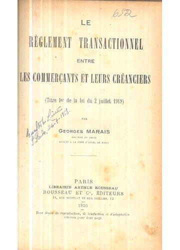 Le Règlement Transactionnel Entre Les Commerçants et Leurs Créanciers