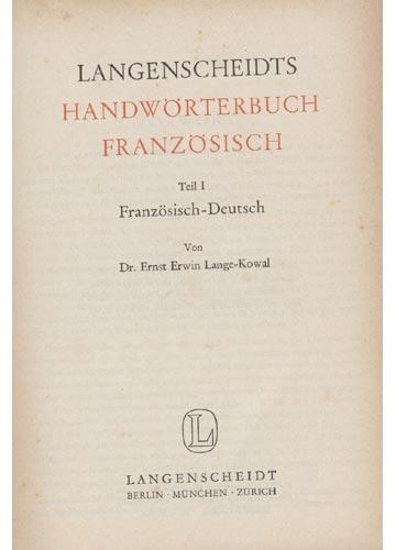 Langenscheidts - Handwörterbuch Franzosisch