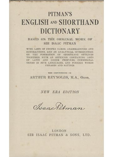 Pitman's English and Shorthand Dictionary