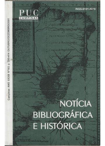 Notícia Bibliográfica e Histórica - Ano XXXIII - Nº 183