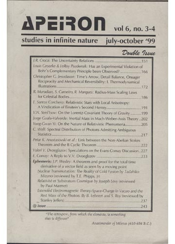 Apeiron - Volume 6 - Nº. 3-4 - Studies in Infinite Nature - 1999