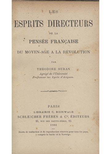 Les Sprits Directeurs de la Pensée Française