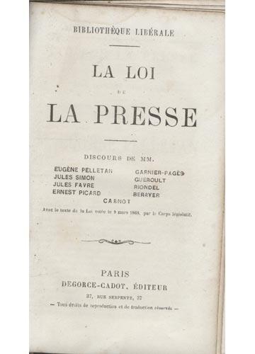 Discours Sur - La Loi de La Presse
