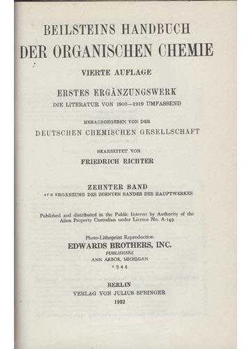 Organische Chemie - Band IX - Erstes Erganzungswerk
