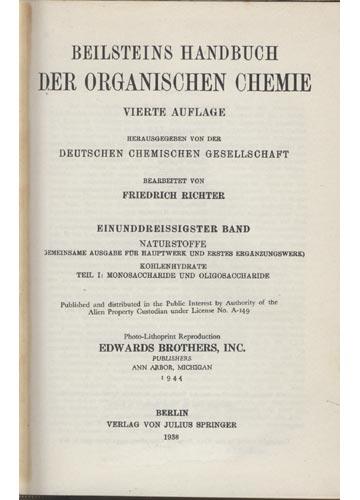 Organische Chemie - Band XXXI - Kohlenhydrate