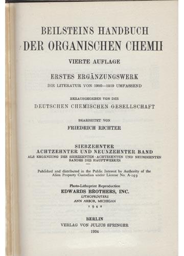 Organische Chemie - Band  XVII - XIX - Erstes Erganzungswerk
