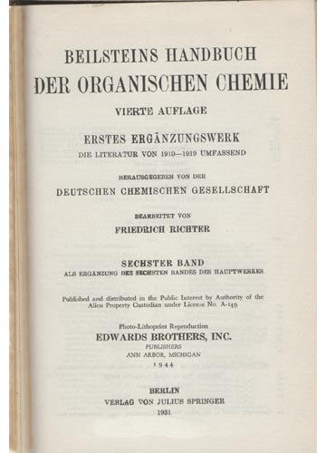 Organische Chemie - Band VI - Erstes Erganzungswerk