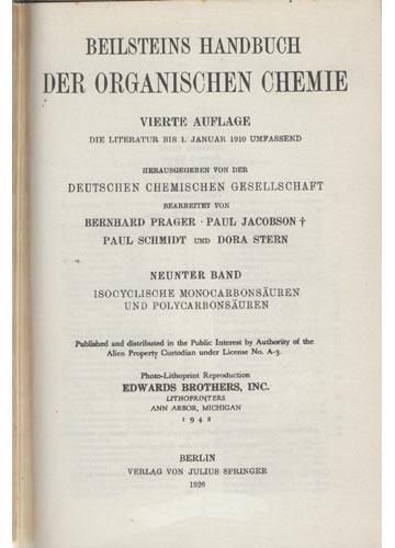 Organische Chemie - Band IX - Isocyclische Reihe
