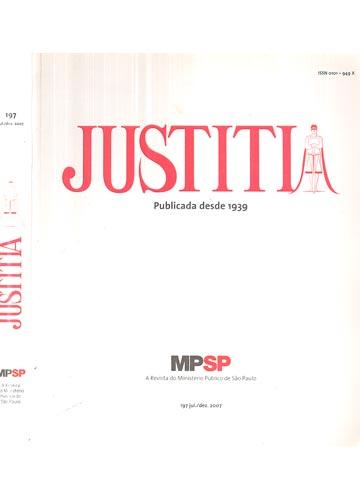 Justitia - Revista do Ministério Público de São Paulo - Volume 197 - 2007 - 2º Semestre