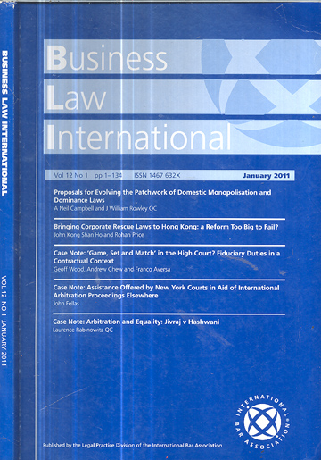 Business Law International - Volume 12 - Nº.01 - January 2011