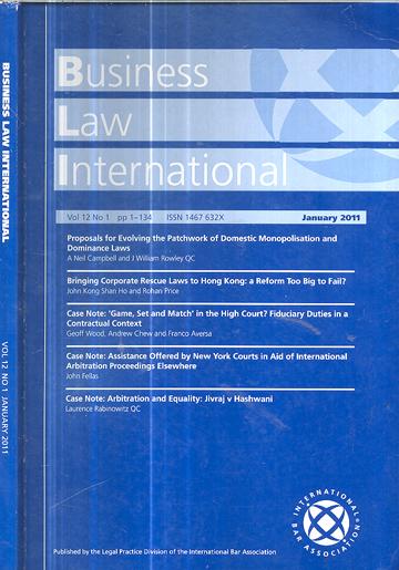 Business Law International - Volume 12 - Nº.01 - January 2011
